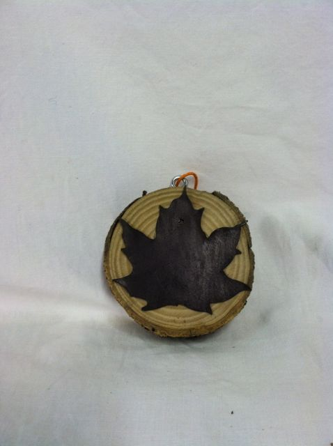 Birch Wood Plaque with Large Metal Leaf